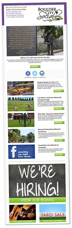 Boulder City Social Weekly eNewsletter