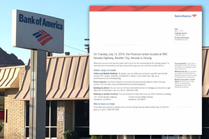 Bank of America Closing in Boulder City, Nevada
