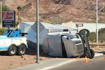 Over-Turned Semi-Truck in Boulder City, NV