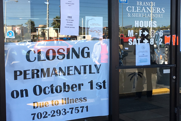Branch Laundry/Dry Cleaners Closed
