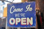 Business Bulletin Open Sign in Boulder City, Nevada