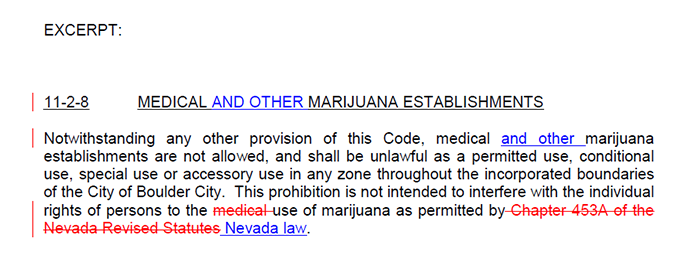 Marijuana Establishments Ban Excerpt for Boulder City, Nevada