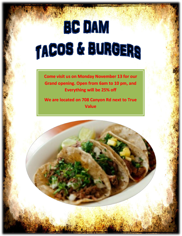 BC Dam Tacos & Burgers Flyer Boulder City, NV