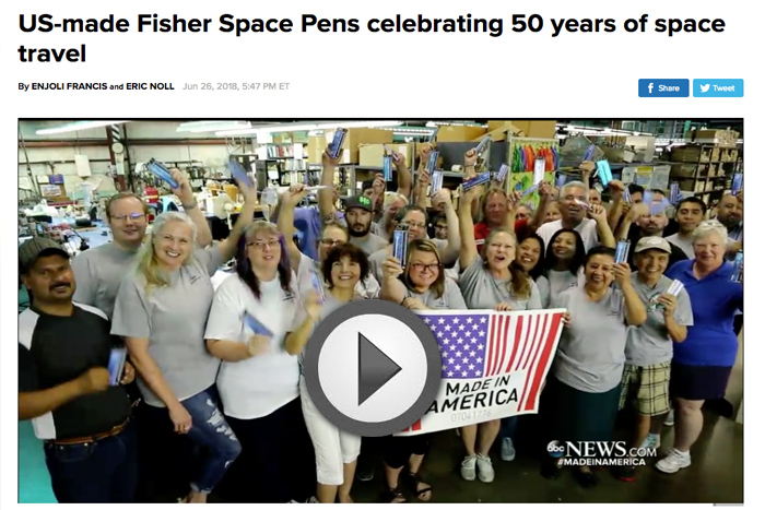 Fisher Space Pen Featured on ABC World News Tonight Program