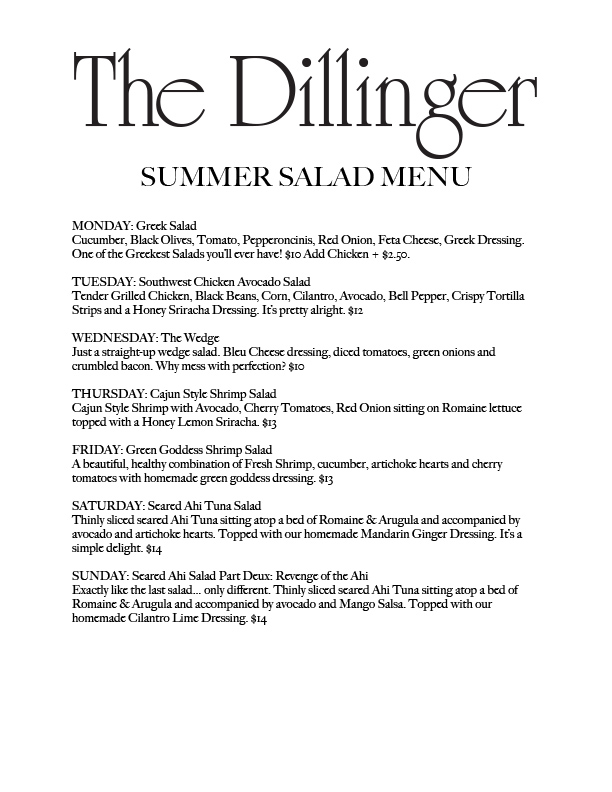 DILLINGER SUMMER SALAD Menu Boulder City, NV