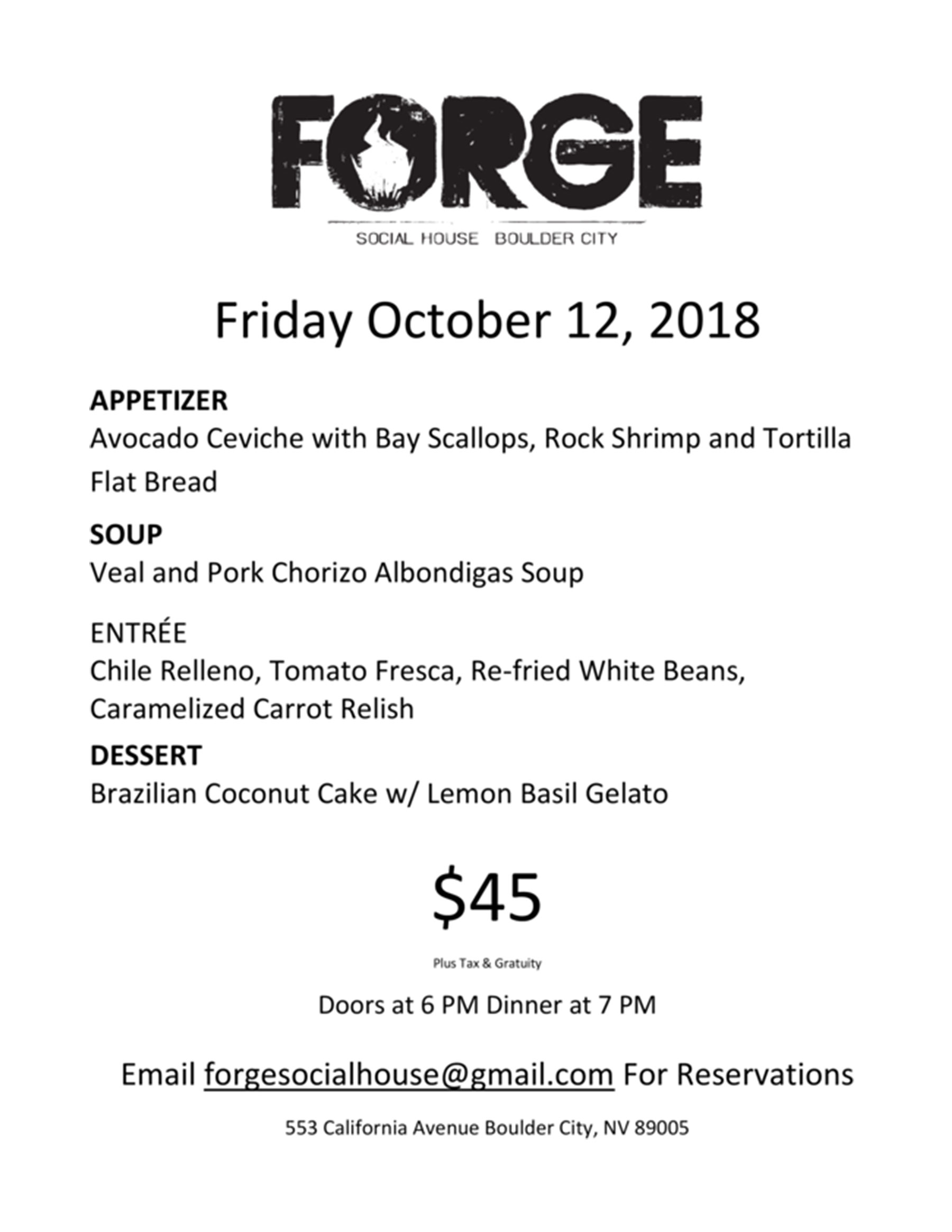 Forge Dinner October 2018 Boulder City, NV