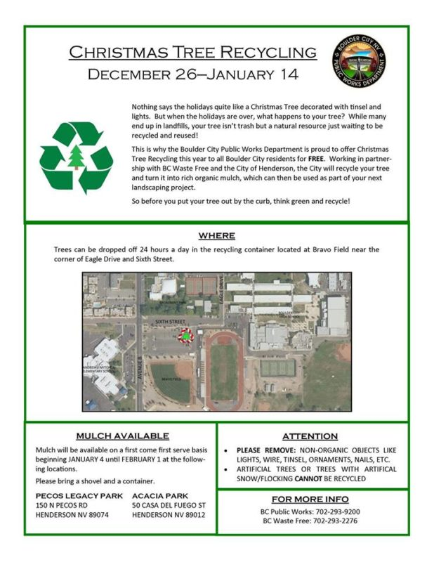 Christmas Tree Recycle Flyer Boulder City, NV