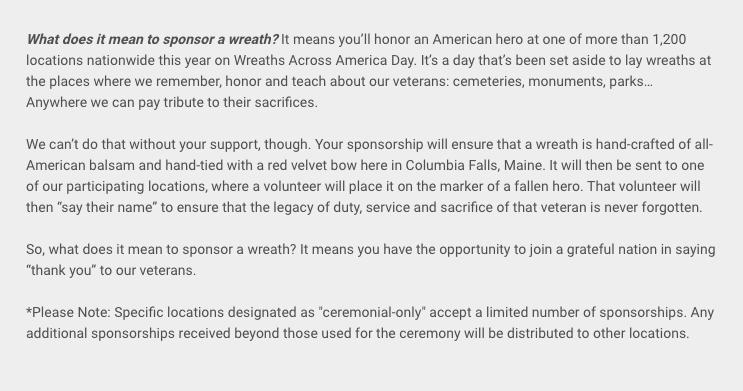 Sponsor Wreaths Across America