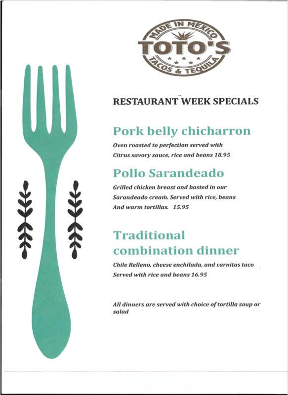totos Restaurant Week Menu Boulder City, NV