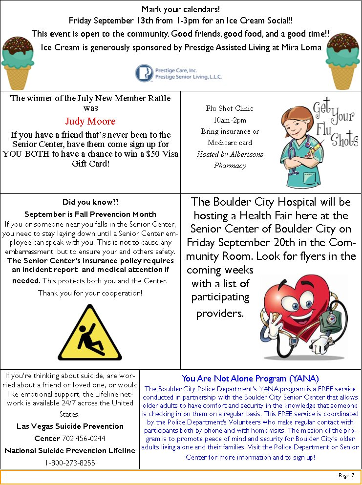 SeniorCenter Events Boulder City, Nevada