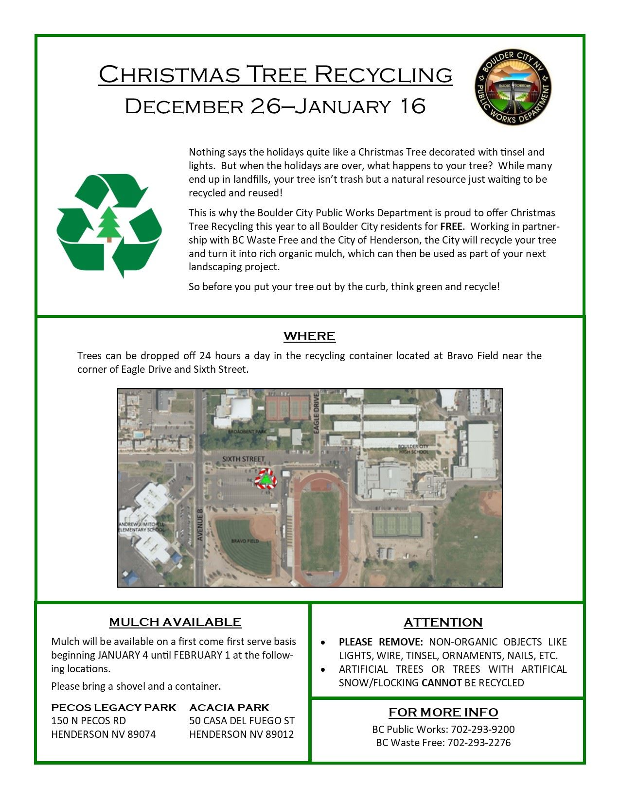 Flyer XMas Tree Recycle 2020 Boulder City, NV