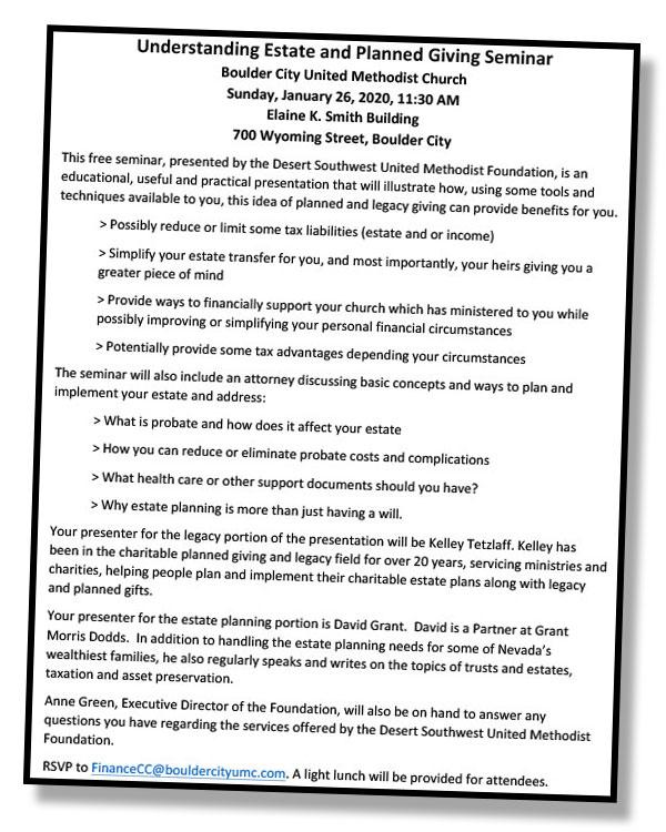 BCUMC Seminar Flyer Boulder City, NV