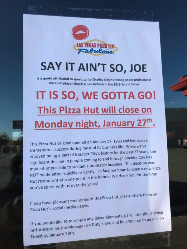 Pizza Hut Closing Signs Boulder City, NV