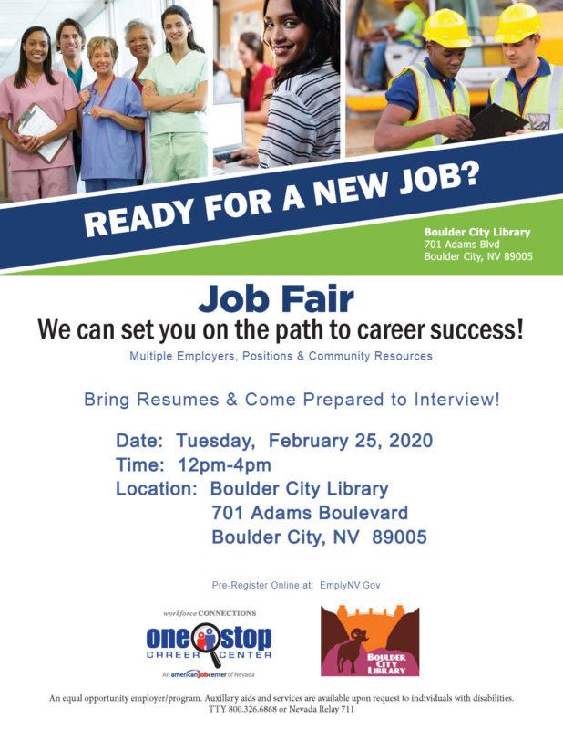 Boulder City Job Fair Flyer Boulder City, NV