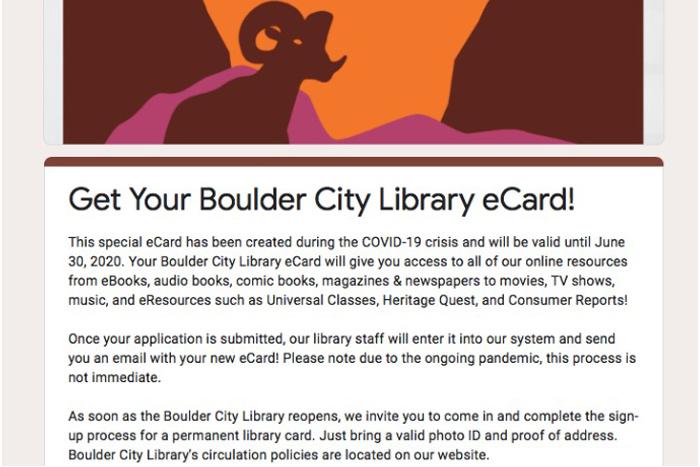 Boulder City, NV Library eCard