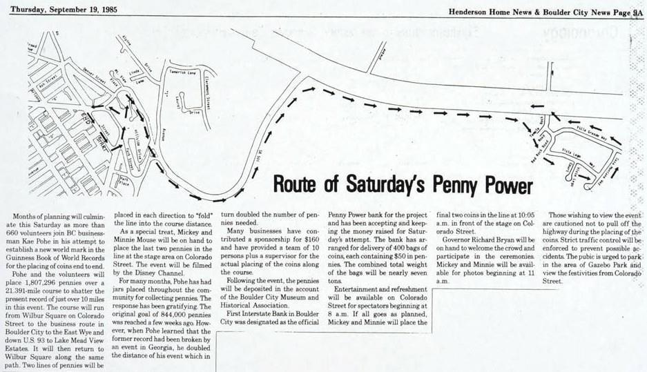 Penny Power News Item Boulder City, Nevada