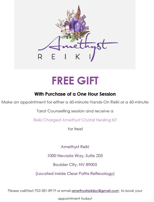 Amethyst Reiki Free Gift Flyer Boulder City, NV