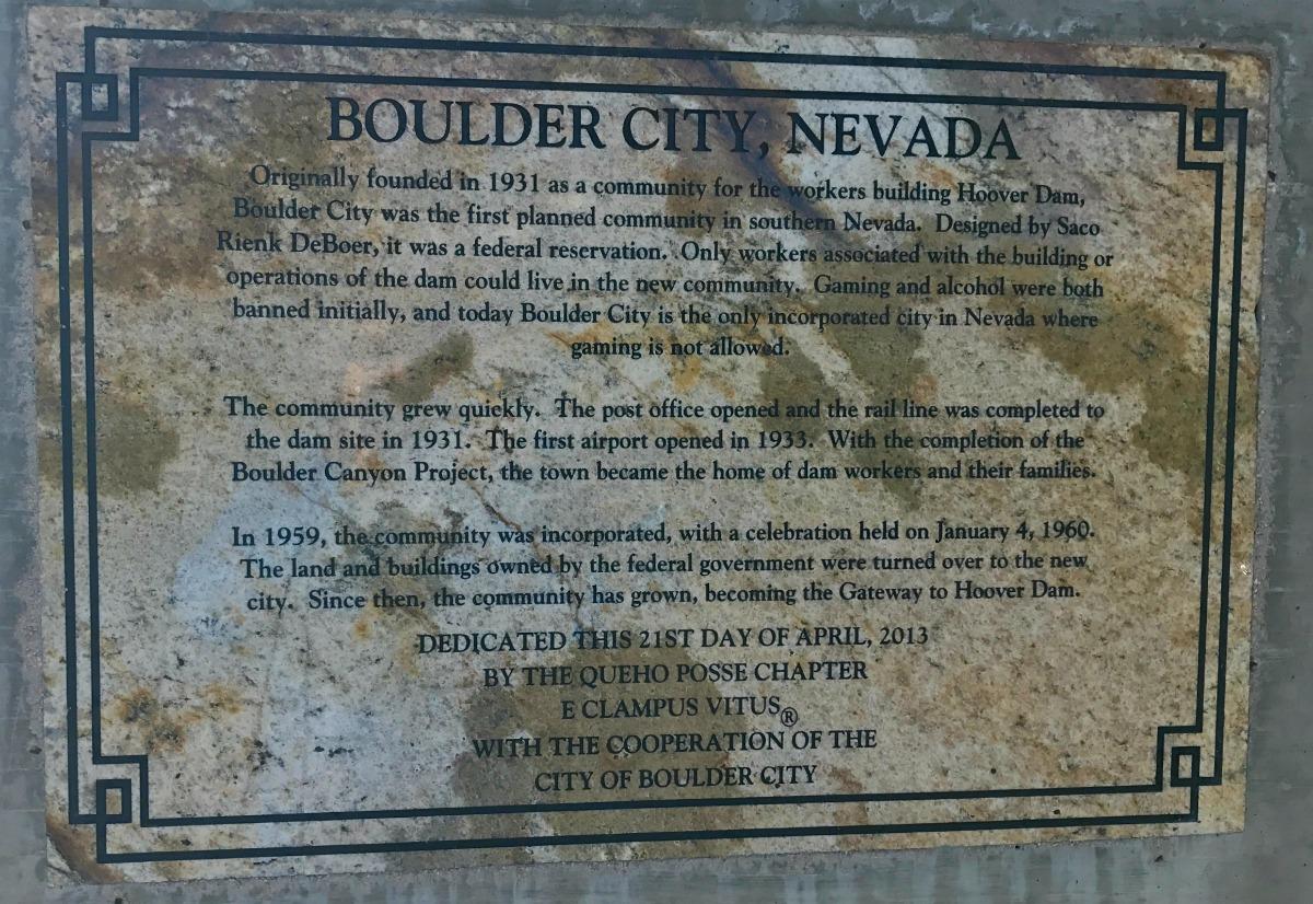 Boulder City Plaque Closeup