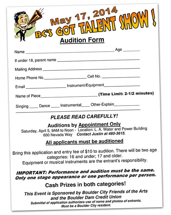 BC's Got Talent Audition Form 2014 in Boulder City, NV