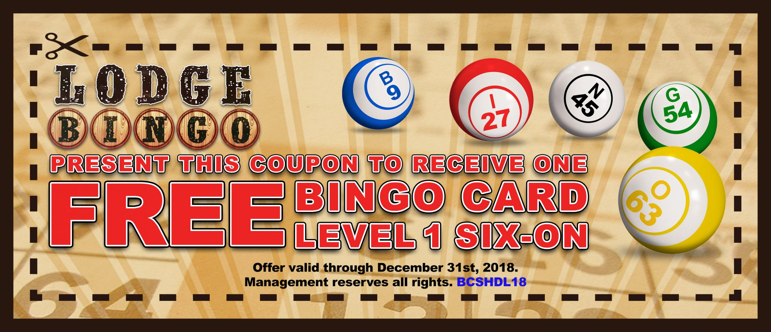 Lodge Bingo Coupon Boulder City, NV