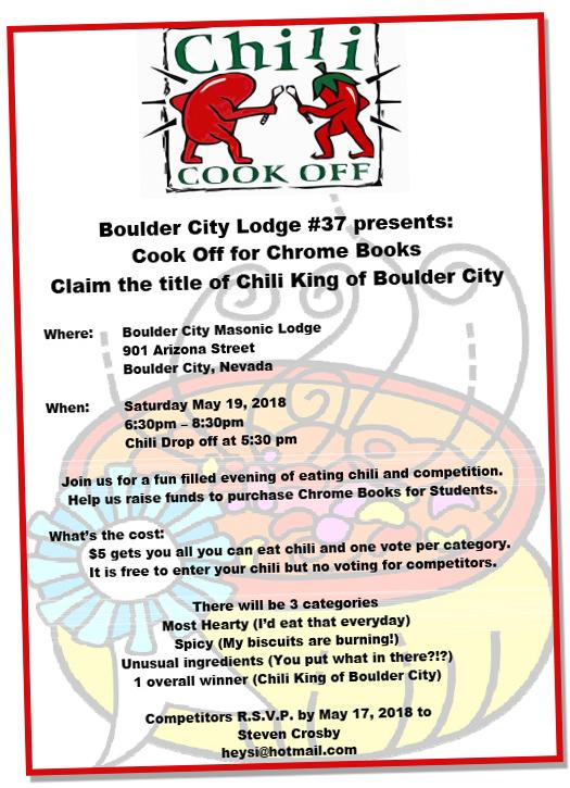 Chili Cook Off Flyer Boulder City, Nevada