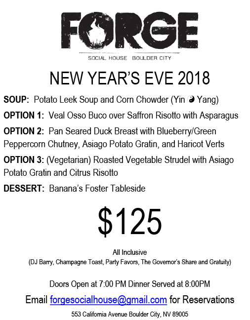Forge New Years Menu Boulder City, NV