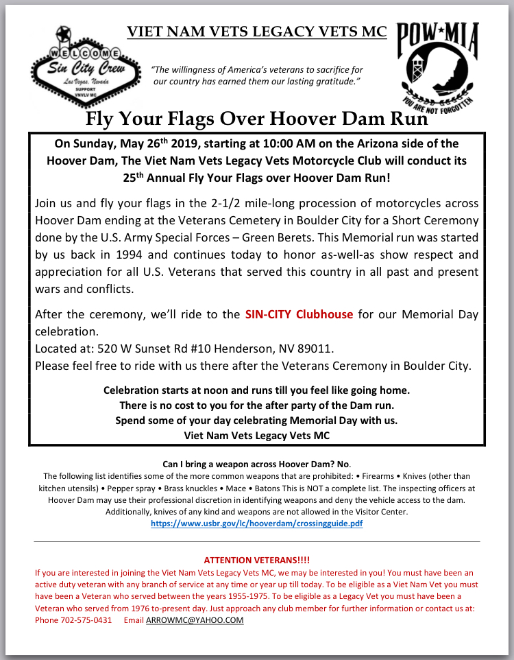 Fly Your Flags Flyer Boulder City, NV