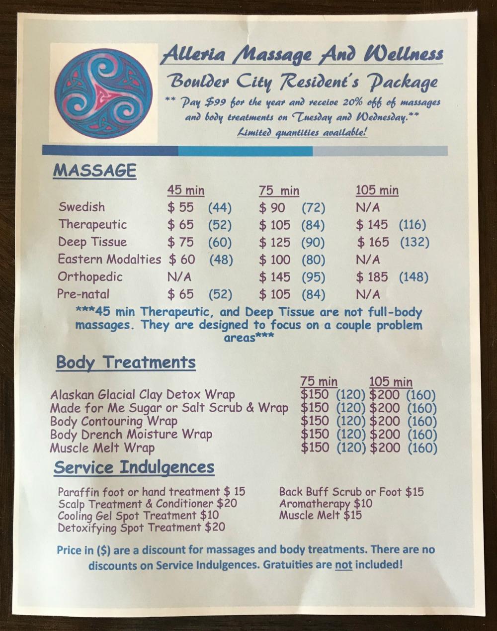 Alleria Massage Menu Boulder City, NV