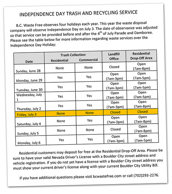 Independence Day BC Waste Free Schedule in Boulder City, Nevada