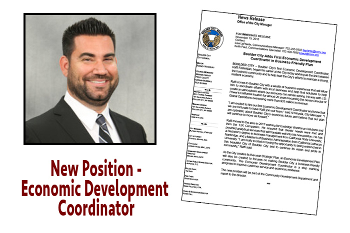 New Economic Dev Coordinator Boulder City, NV