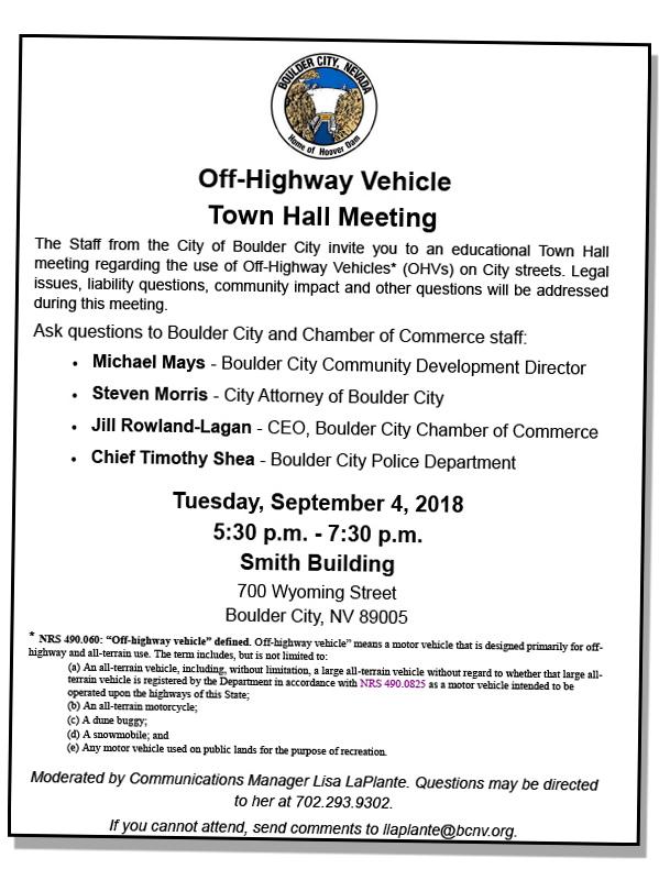 OHV Town Hall Flyer Boulder City, NV