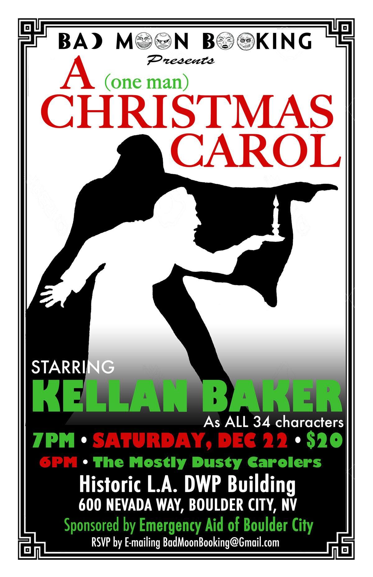 One Man Christmas Carol Flyer Boulder City, NV