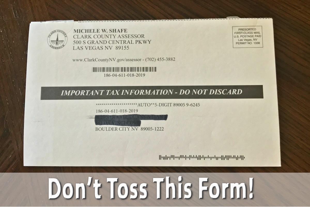 Property Tax Form Boulder City, NV
