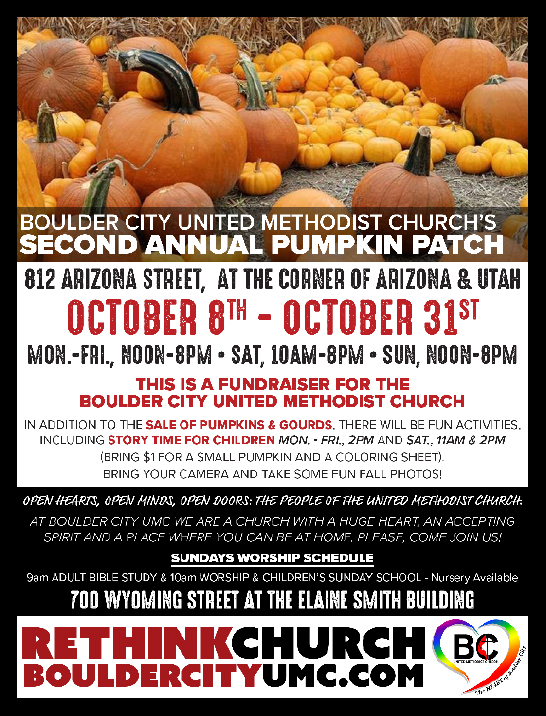 United Methodist Pumpkin Patch Flyer Boulder City, NV