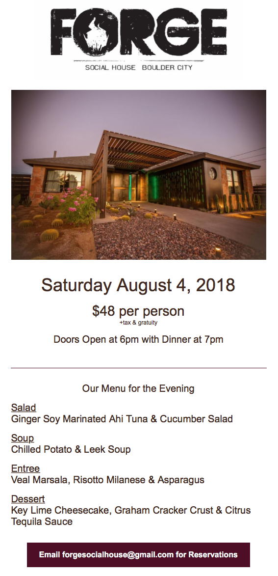 The Forge August Event Boulder City, Nevada