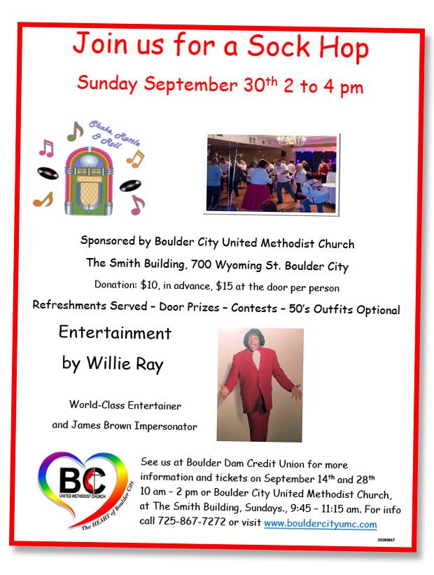 United Methodist Sock Hop Flyer Boulder City, NV