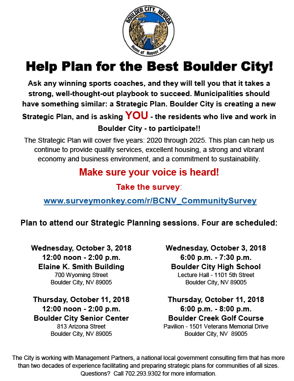 Stategic Plan Meetings Survey Boulder City, NV