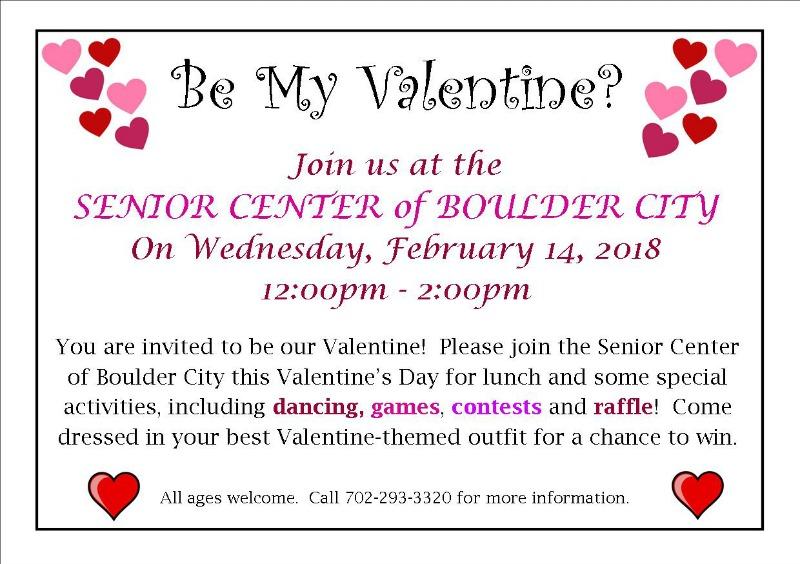 Senior Center Valentine 2018 Invite Boulder City, NV
