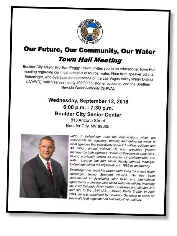WaterT own Hall Flyer Boulder City, Nevada