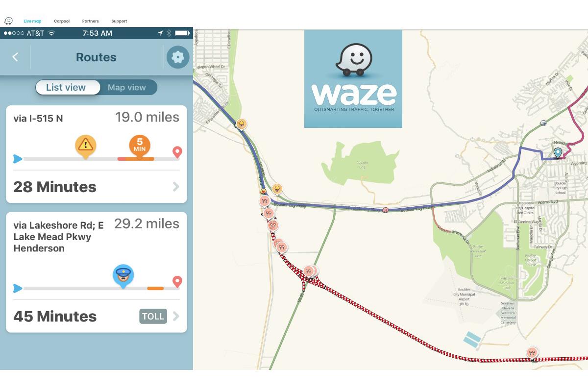 Waze Traffic App Boulder City, Nevada