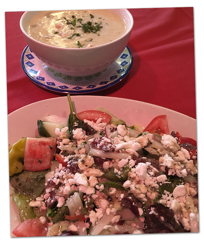 Avgolemono Soup and Salad at Evan's Old Town Grille