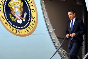President Barack Obama on Air Force One