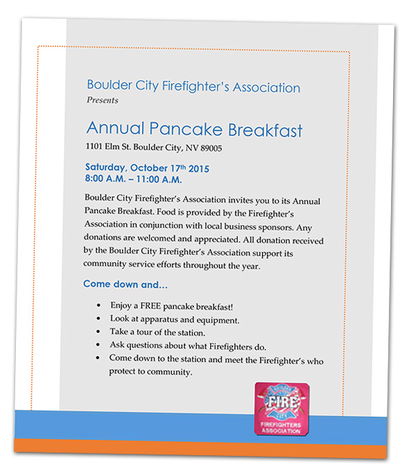 Boulder City, Nevada Fire Department's Pancake Breakfast