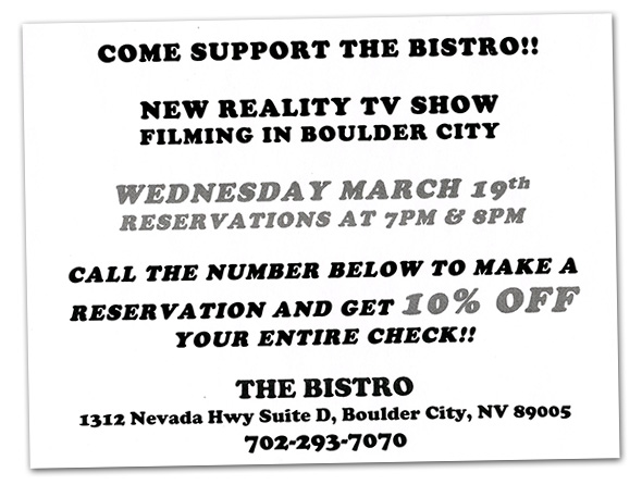 TV Show Filming at The Bistro in Boulder City, NV