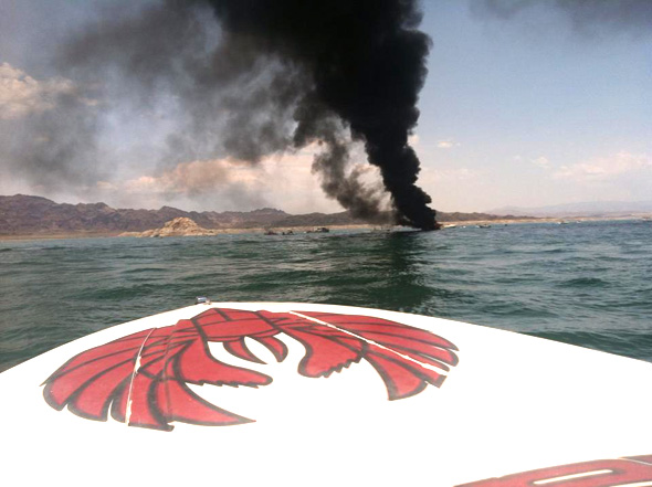 Boat Fire on Lake Mead Near Boulder City, Nevada