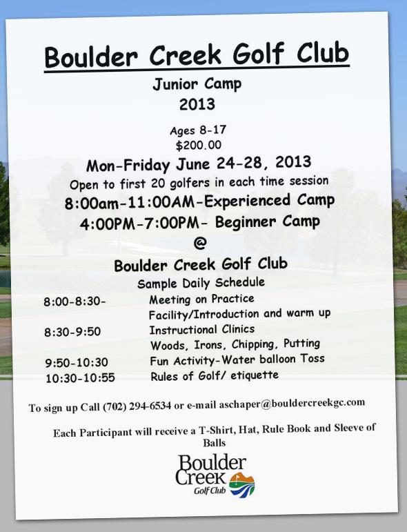 Boulder Creek Junior Golf Camp in Boulder City, NV