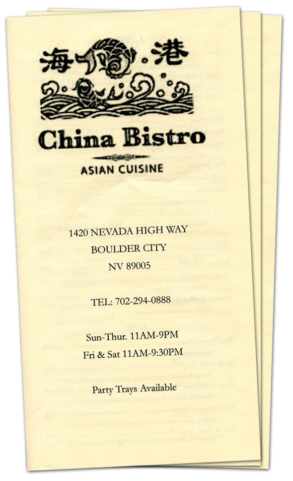 China Bistro Menu in Boulder City, Nevada
