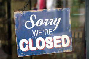 Closed Sign in Boulder City, Nevada