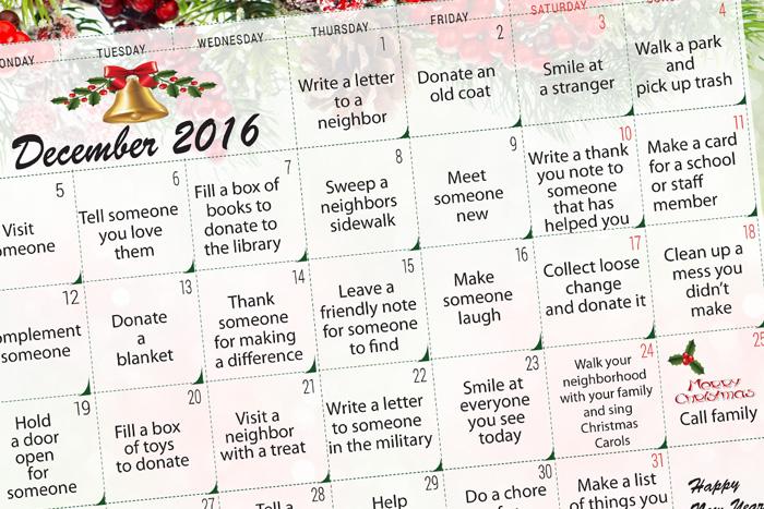 Advanced Dental Care's Kids' Act of Kindness Calendar 2016