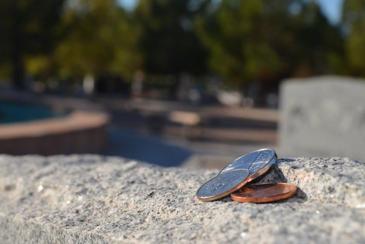 Coins On Graves in Boulder City, Nevada
